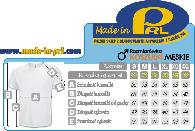 PRL rozmiarówka koszulki męskie